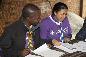 Chief Scout with female Scouter at hawequas fun day june 2014