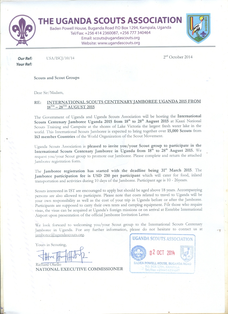 Uganda Scout Association Centenary Jamboree 2015 Invitation