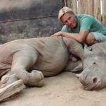 Braam Malherbe and baby rhino