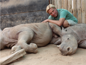 Braam Malherbe and baby rhino