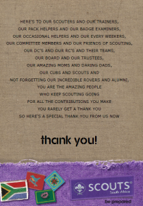 Chief Scout Says thank you