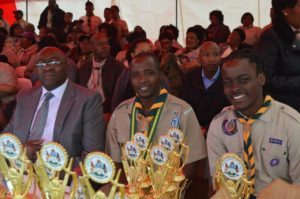 KZN Rally Minister Nene, Chief Scout Sibusiso Vilane and Henry Sibande National Scout Youth Representative credit Steve Camp
