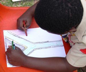 child drawing sa flag